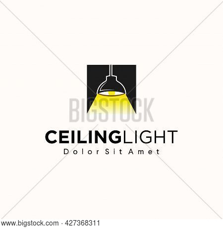 Ceiling Lamp Logo In Modern Design Vector Illustration On A White Background. High Quality Black Out