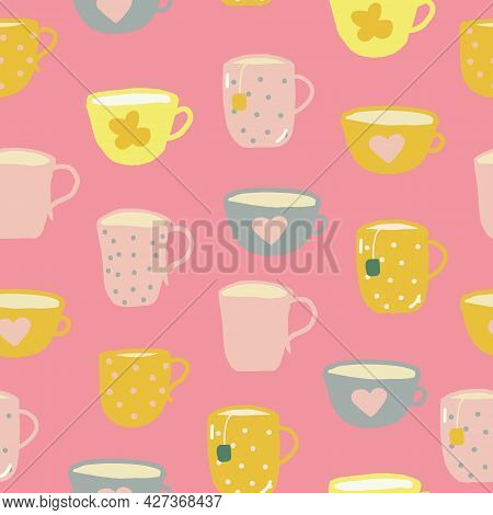 Cups Seamless Pattern. Hand Drawn Doodle. Vector, Cartoon, Minimalism. Trending Colors 2021. Wallpap