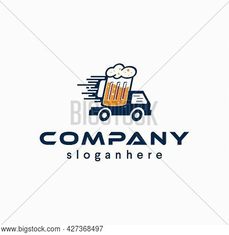 Beer Delivery Logo With Truck Icon Drink Design Vector Illustration. Craft Brewery Beverage Car Vehi