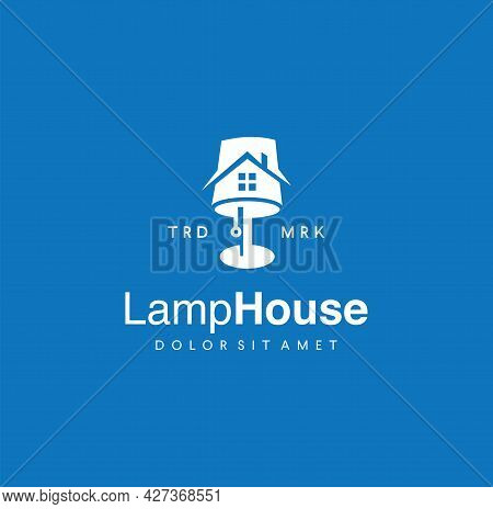 Floor Lamp And House Logo Modern Interior Decoration Vector Illustration Template. Table Lamp And Re
