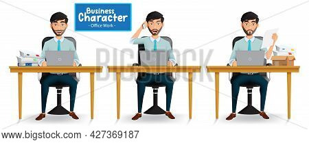 Business Man Sitting Vector Set. Businessman Characters In Office Workplace With Happy, Angry And Se