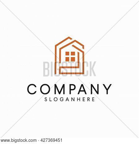 Minimalist Line Art House Logo Design Vector Illustration. Construction Building Home Real Estate Is