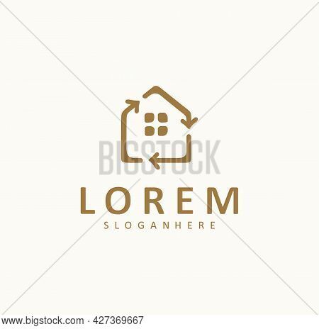 House Home Recycle Logo Icon Design Vector Illustration Template Emblem. Real Estate Recovery Inspir