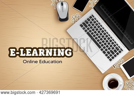 E-learning Online Education Vector Design. Online Education Text With Laptop, Phone And Tablet Devic