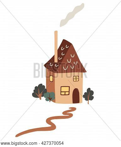 Cute Little Country House. Village Cottage Among Trees. Exterior Of Home With Chimney And Smoke. Col