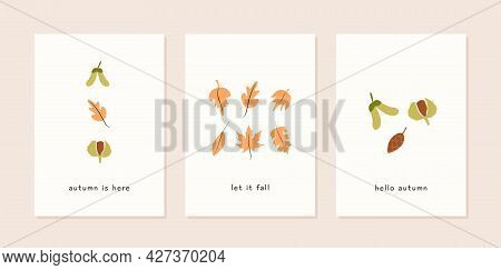 Set Of Autumn Mood Modern Greeting Card Template With Oak Leaf, Maple Seed, Chestnut, Pine Cone And