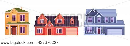 Residential Houses Exterior In Suburb District. Cartoon Set Of Suburban Cottages, Modern Real Estate