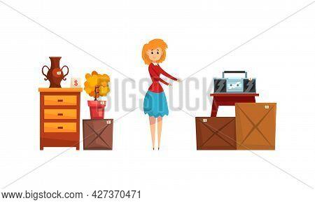 Garage Sale Concept, Woman Selling Or Buying Old Vintage Goods At Flea Market Cartoon Vector Illustr