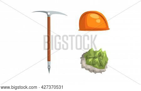 Geological Mining Industry Equipment Set, Pickaxe Tool, Safety Hard Hat, Mineral Stone Cartoon Vecto