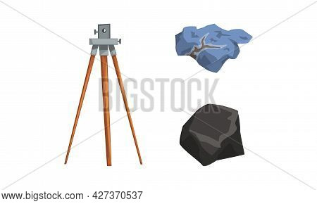 Geological Mining Industry Equipment Set, Geodetic Leveling Instrument, Mineral Stone Cartoon Vector