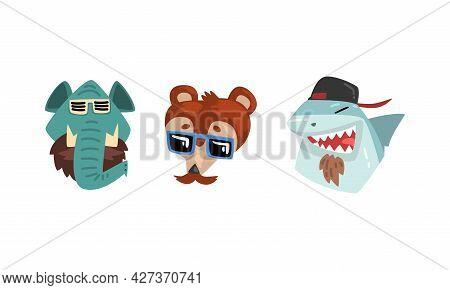 Hipster Animals Set, Portrait Of Elephant, Shark, Chipmunk In Retro Sunglasses And Caps Cartoon Vect