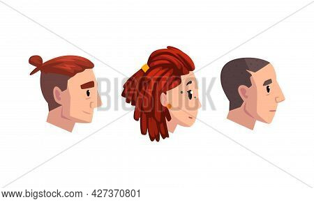Collection Of Profile Portraits Of Male And Female Heads, Man And Woman With Various Hairstyles Cart