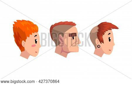 Side View Of Male And Female Heads Set, Man And Woman With Various Haircuts Cartoon Vector Illustrat