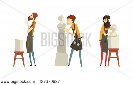 People Of Creative Professions Set, Male Sculptors Working On Marble Masterpieces Cartoon Vector Ill