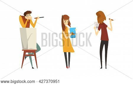 People Of Creative Professions Set, Artists Characters Painting And Drawing Cartoon Vector Illustrat