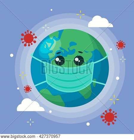 Planet Earth In A Mask. Conceptual Illustration Of The Spread Of Coronavirus Infection And Pandemic.