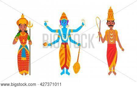 Indian Gods Set, Varuna, Parvati, Vishnu Idols Cartoon Vector Illustration