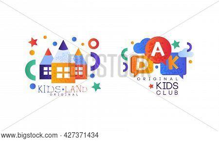 Kids Land Original Logo Design Set, Kindergarten, Playground, Game Area, Party For Children Bright B