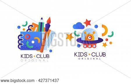 Kids Club Logo Design Set, Kindergarten, Playground, Game Area, Party For Children Bright Badges Fla