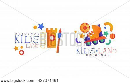 Kids Land Original Logo Set, Playground, Game Area, Party For Children Bright Badges Flat Vector Ill