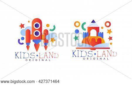 Kids Land Original Logo Design Set, Kindergarten, Playground, Game Area Labels, Badges Flat Vector I