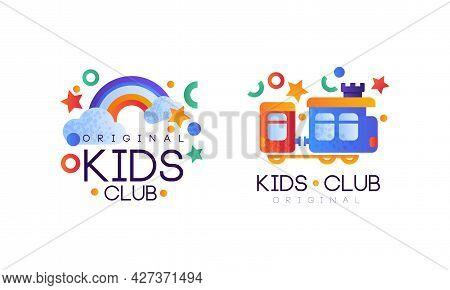 Kids Club Original Logo Design Set, Kindergarten, Playground, Game Area Bright Labels Flat Vector Il