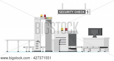 Passengers Security Check. Airport Security Zone. Metal Detector. Check Point Isolated On White. Che