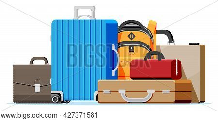 Modern And Vintage Travel Bag Collection Isolated On White. Set Of Plastic And Leather Business Case
