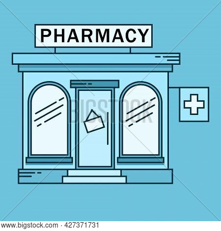 Pharmacy Colored Building Line Medicine Concept. Architectural Form Can Be Used For Website Design,