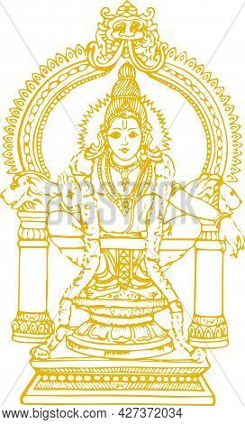 Sketch Of Lord Shiva Son Ayyappan Or Ayyppa Swamy Outline Editable Illustration