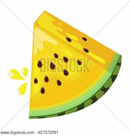 Yellow Watermelon With Seeds. A Triangular Piece Of Juicy Watermelon. Cartoon Illustration Isolated