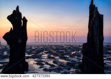 View Of The Wadden Sea During Sunset, At Low Tide. 2 Wooden Posts As A Silhouette In The Mud. Unesco