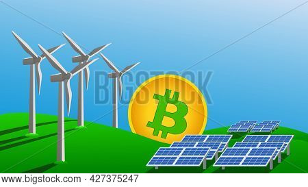 Bitcoin Mining Concept Using Green Energy To Protect Environment. Windmills And Solar Panels Generat