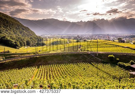 Aigle Castle With Vineyards And Mountain In Vaud Canton, Switzerland. Landscape.