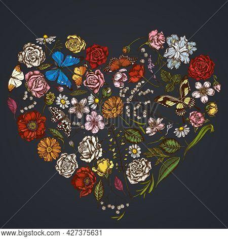 Heart Floral Design On Dark Background With Shepherd S Purse, Heather, Iris Japonica, Sakura, Gypsop
