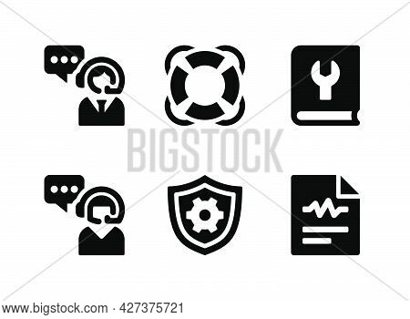 Simple Set Of Help And Support Related Vector Solid Icons. Contains Icons As Lifebuoy, Customer Care