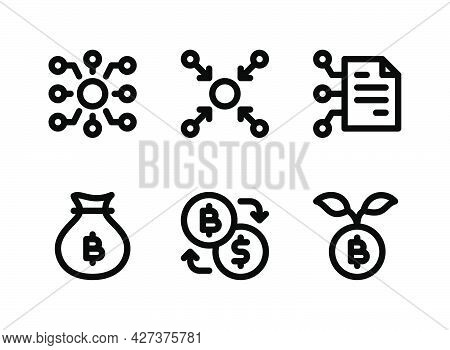 Simple Set Of Crypto Related Vector Line Icons. Contains Icons As Decentralized, Centralized, Curren