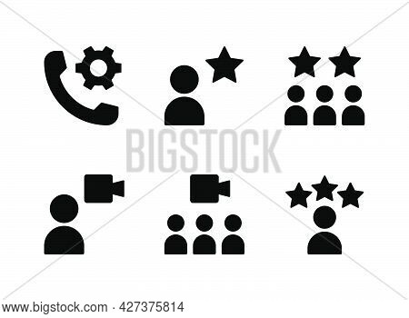Simple Set Of Help And Support Related Vector Solid Icons. Contains Icons As Customers, Cogwheel, Vi