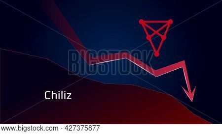 Chiliz Chz In Downtrend And Price Falls Down. Cryptocurrency Coin Symbol And Red Down Arrow. Crushed