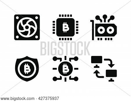 Simple Set Of Crypto Related Vector Solid Icons. Contains Icons As Cpu Mining, Peer To Peer, Cooling