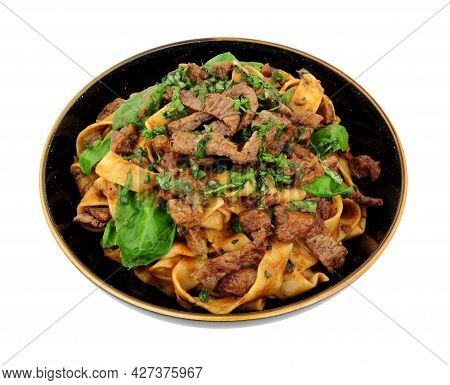 Steak Ragu With Pappardelle Pasta Isolated On A White Background