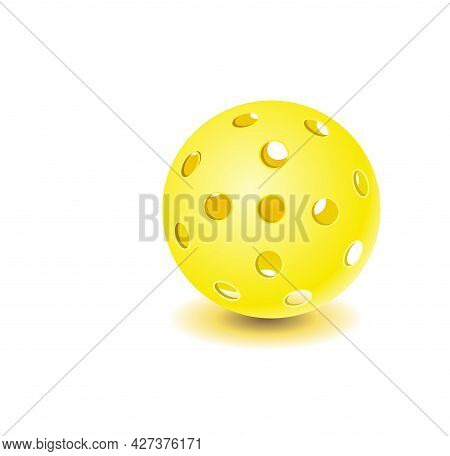 Realistic Pickleball Ball With Right Size Holes. Indoor And Outdoor Collection. Vector 3d Illustrati