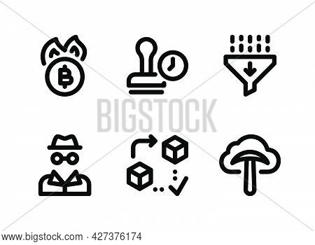 Simple Set Of Crypto Related Vector Line Icons. Contains Icons As Coin Burning, Timestamp, Hash Func