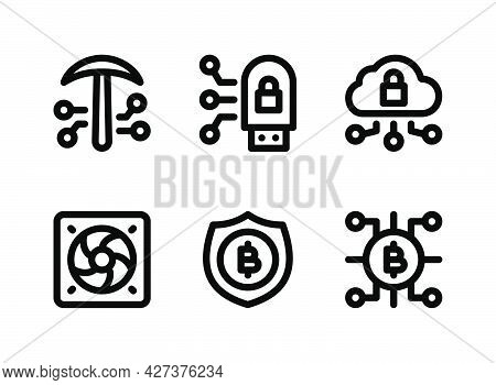 Simple Set Of Crypto Related Vector Line Icons. Contains Icons As Crypto Mining, Secure Flash Disk,