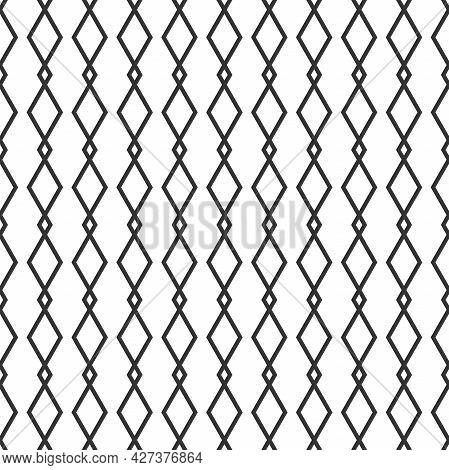 Seamless Pattern With Black Line Rhombus. Ethnic Symmetric Background. Modern Pattern. Geometric Sea