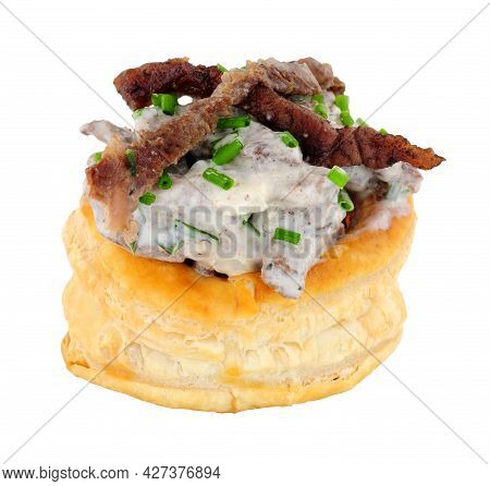 Beef Puff Pastry Vol Au Vent With With Soured Cream And Chives Filling Isolated On A White Backgroun