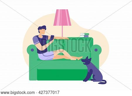 Man Is Resting On Couch With Smartphone. Male Character Is Lying On Green Sofa And Watching Online V