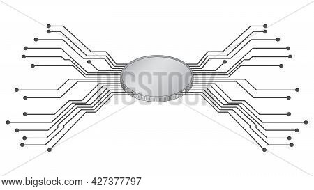 Futuristic Isometric Coin With Diverging Pcb Tracks In Gray Isolated On White. Blank For Logo Or Sym