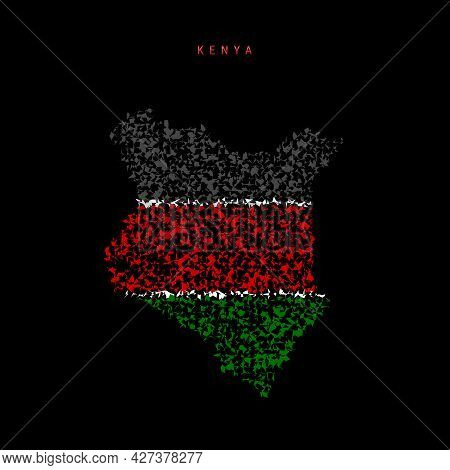 Kenya Flag Map, Chaotic Particles Pattern In The Colors Of The Kenyan Flag. Vector Illustration Isol