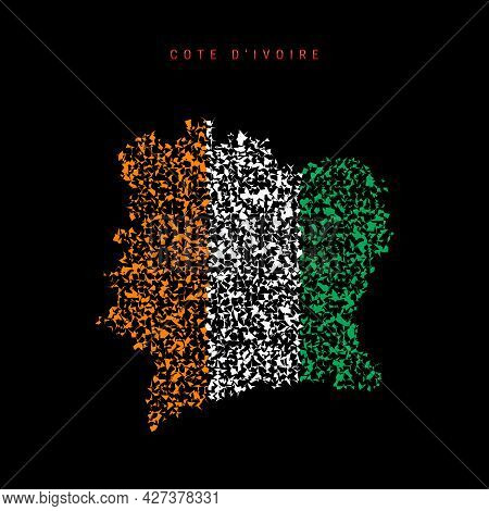Cote D Ivoire Flag Map, Chaotic Particles Pattern In The Colors Of The Ivory Coast Flag. Vector Illu